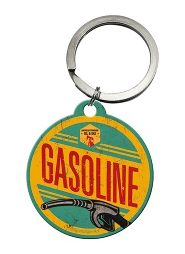 Nostalgic Art Gasoline Yuvarlak Anahtarlık (4 cm) Renkli